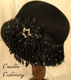 White Soft Cloche Hat  w/Beaded Flower