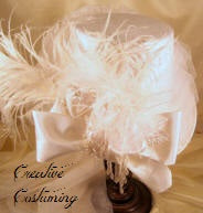Tall Victorian Riding Hat w/White Felt, Veiling & White Ostrich Plumes EM8066W.584.55