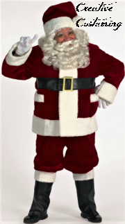 Deluxe Burgundy Santa Suit with Outside Pockets