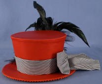 Hand Crafted Burlesque Hat  Red Top Hat with Black Feathers