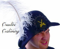 "Pirate Hat SIM Wool  w/ 12"" Chandelle Feather Plume"