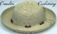 Ladies Straw Hat w/Beaded Band