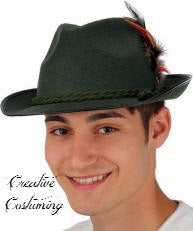 Green Felt Bavarian Hat  w/Rope Band & Feathers