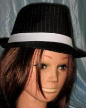 Black Fedora Hat w/White Pinstripes