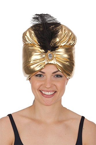 Gold Turban w/Jewel & Black Feather