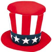 Uncle Sam Mad Hatter  Foam Top Hat