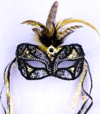 Black/Gold Lace Mask
