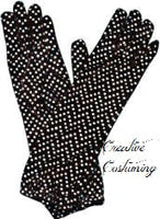 Disco Dot Black Elbow Length Gloves