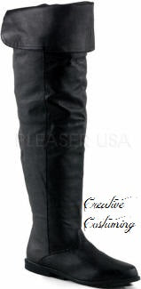 Thigh High, Renaissance or Pirate Leather Boot w/Cuffed Collar