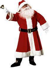 Plush Old Time Santa Claus Suit  with Hood Costume