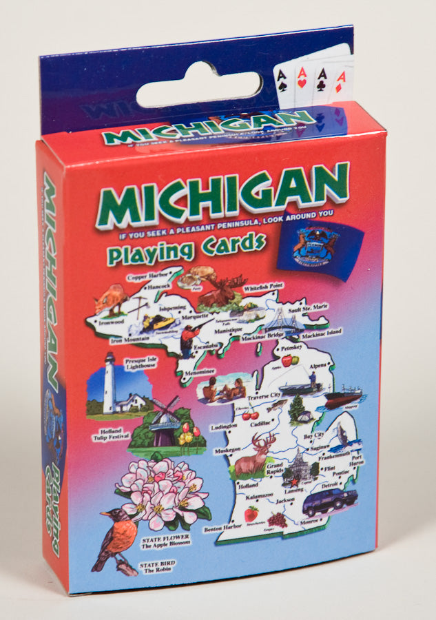 Playing Cards - Michigan Map / Red -1071924199