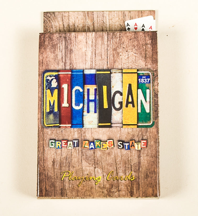 Playing Cards - Vintage License Plate Michigan - 1071924234