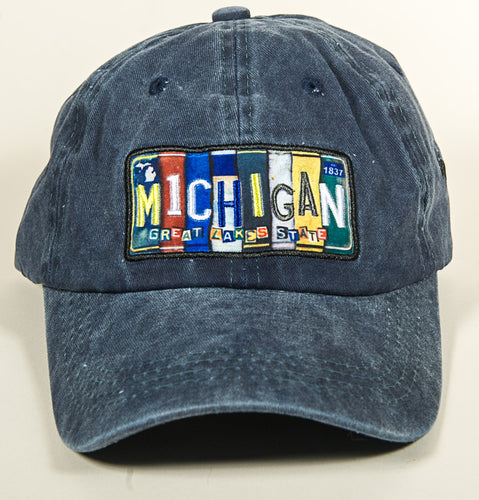 Michigan Hat - Vintage License Plate - Blue Denim - 1071983000