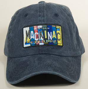 Mackinac Hat - Vintage License Plate - Blue Denim