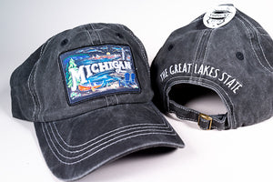 Michigan Hat - Chalk Art - Black Denim - 1071983008