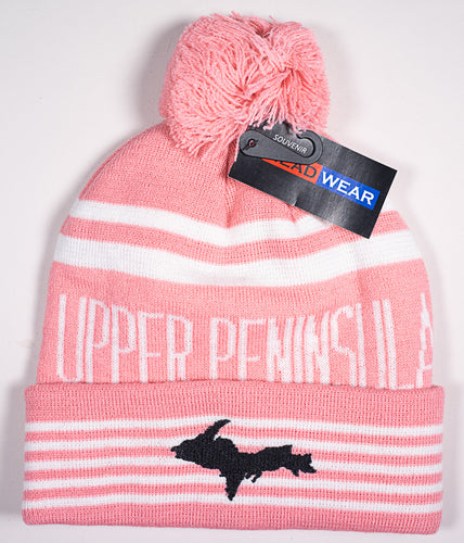 Upper Peninsula Stocking Hat - Outline - Pink - 1071983101