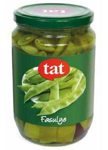 "Tat Canned String Beans "" taze fasulye konserve"" -670g  -GLASS - Turkish Mart"