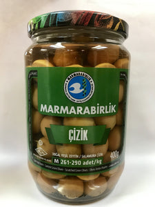 "Scratched ""Cizik""  Green Olives - 400gr - GLASS - Turkish Mart"