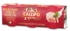 "Callipo Solid Light Tuna ""in Olive Oil"" - 3 tins/80g each"