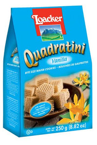 "Loacker Quadratini  Wafer Cookies with ""Vanilla"" - 250gr"