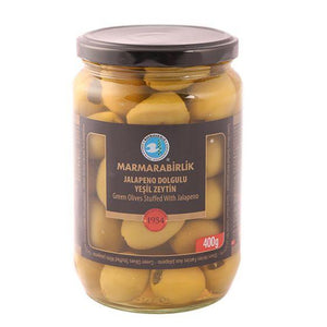 "Green Olives Stuffed With ""Jalapeno""  - 400gr - GLASS - Turkish Mart"