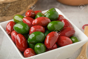 Green and Red mixed Cerignola Olives -350 gr