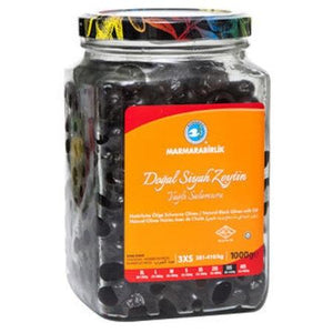 Natural Black Olives with oil (3XS) - 1000g ƒ??GLASS - Turkish Mart