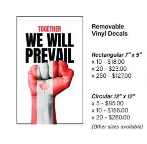 "Removable Stickers  Together We Will Prevail  ""Rectangular"""