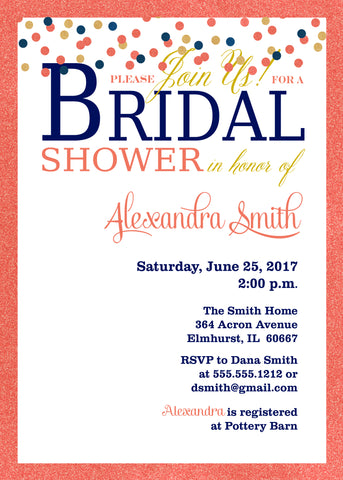 Bridal shower invitations printable party designs navy loves coral bridal shower invitation confetti filmwisefo