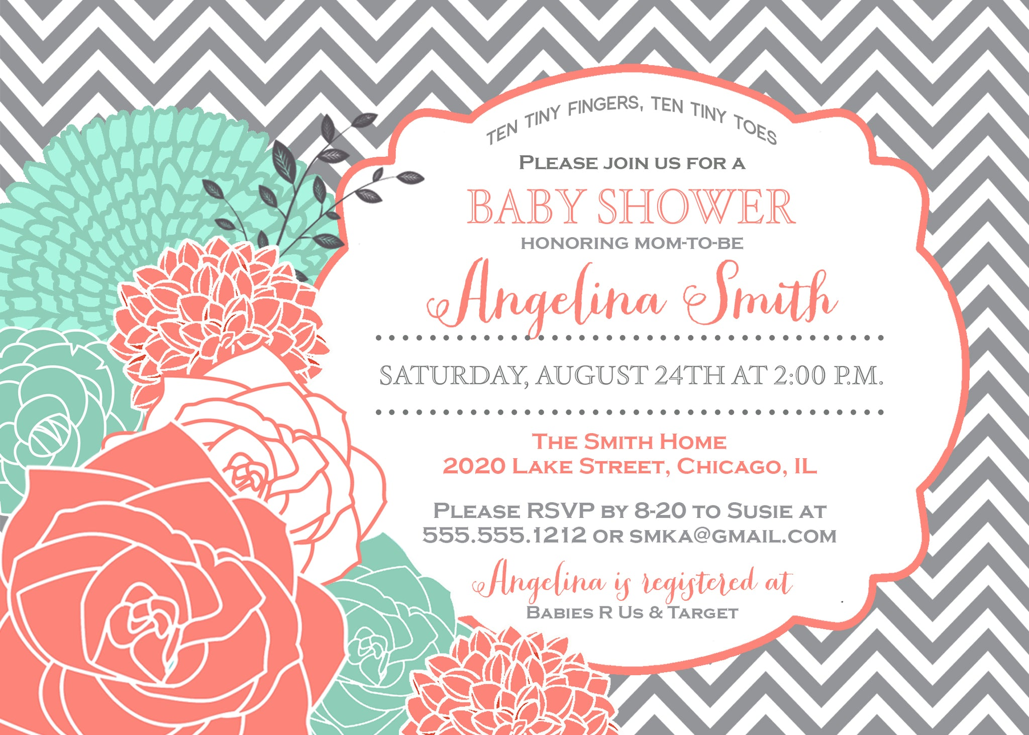 Coral & Mint Blooms Baby Shower Invitation and personalized sign ...
