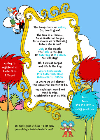 Dr. Seuss Baby Shower Printable Invitation Design