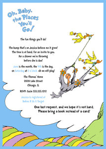 Dr. Seuss Baby Shower Invitation, Oh Baby The Places You'll Go - Blue