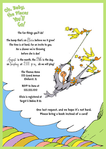 Dr. Seuss Baby Shower Invitation, Oh Baby The Places You'll Go - Gender Neutral, Green