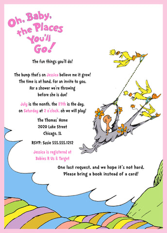 Dr. Seuss Baby Shower Invitation, Oh, Baby The Places You'll Go,  Pink