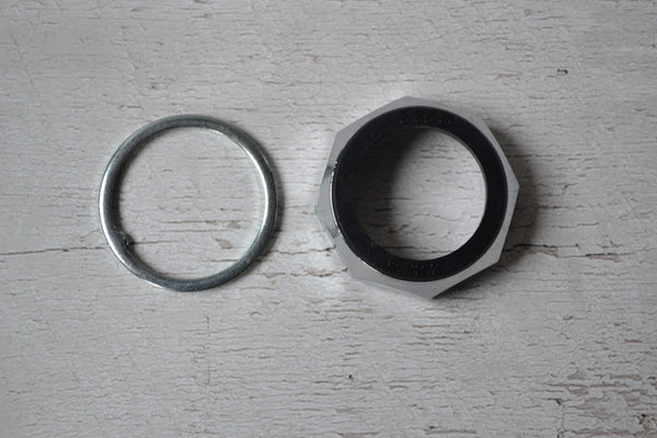 "1"" headset locknut and keyed washer silver"