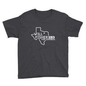 Youth's T-Shirt: Will Fisher Texas Logo (White)