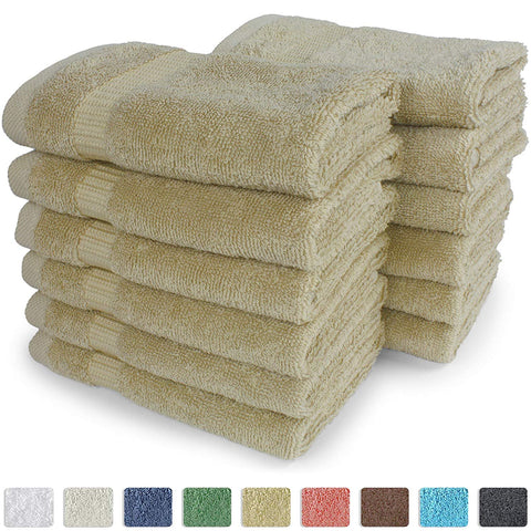 SALBAKOS Luxury Hotel & Spa Turkish Cotton 12-Piece Eco-Friendly Washcloth Set for Bath, 13 x 13 Inch
