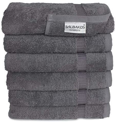 SALBAKOS Turkish Cotton Hotel & Spa Hand Towel Set, 16 by 30 Inch, Box of 96, Gray