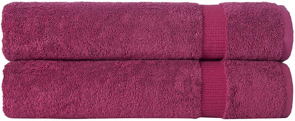 SALBAKOS Luxury Hotel & Spa Turkish Cotton 2-Piece Eco-Friendly Bath Sheet Set 35 x 70 Inch, Wine