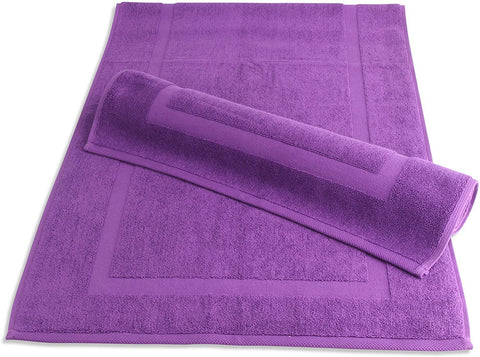 "SALBAKOS Luxury Hotel and Spa 100% Turkish Cotton Banded Panel Bath Mat Set 900gsm! 20""x34"" (Purple, 2 Pack)"