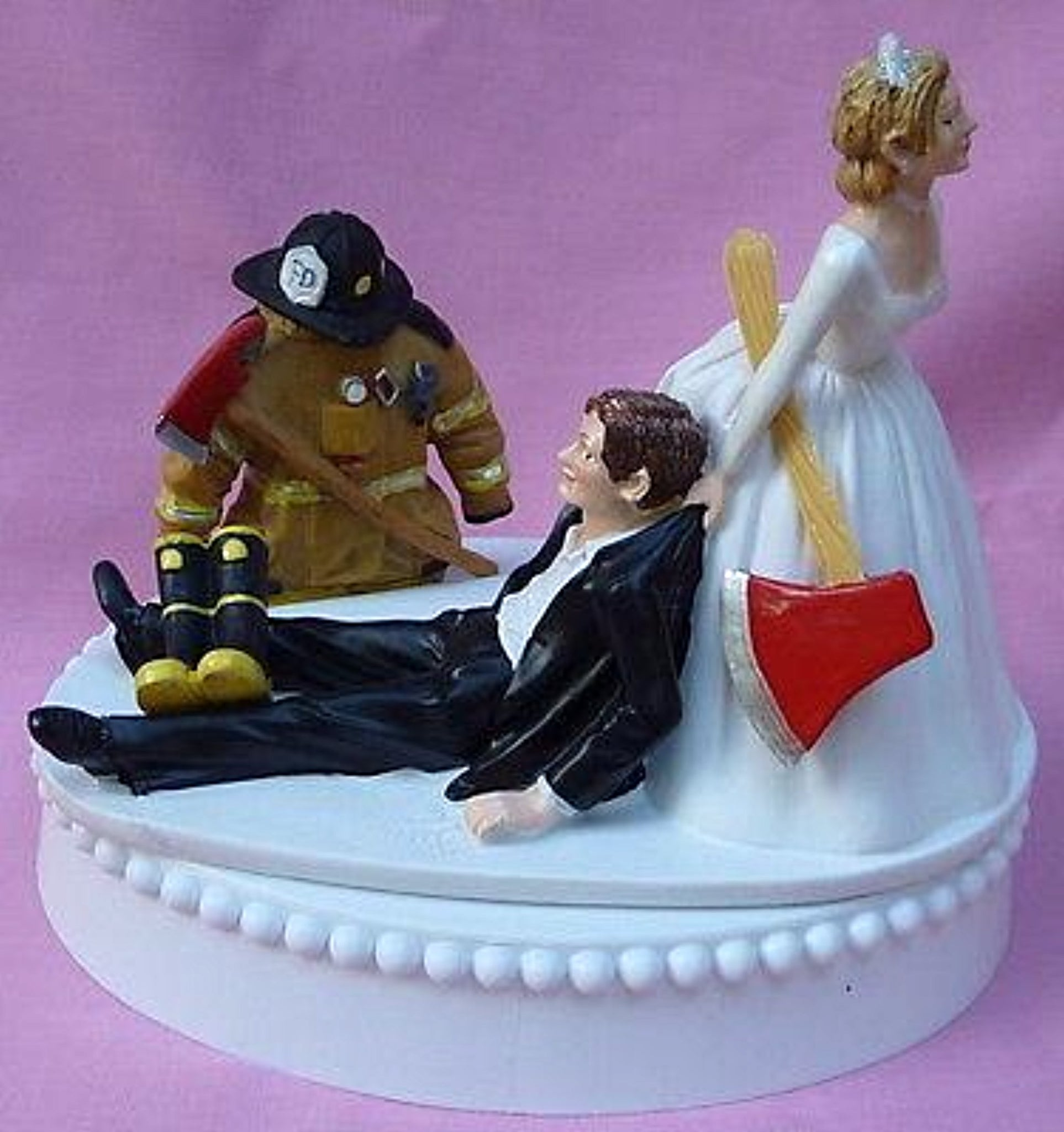 Fireman wedding cake topper firefighter bride groom's cake top humorous dragging away boots axe uniform helmet fire Fun Wedding Things