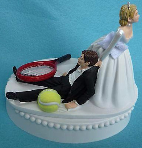 Tennis wedding cake topper FunWeddingThings.com sports fans fun ball racket bride dragging groom reception gift humorous funny