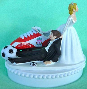 Liverpool F.C. wedding cake topper soccer groom's cake top futbol sports bride dragging groom humorous funny reception gift Fun Wedding Things ball shoe