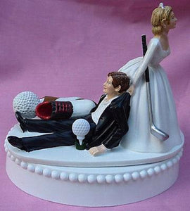 Golf wedding cake topper golfer golfing groom shoes club ball bride dragging humorous funny FunWeddingThings.com