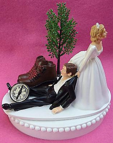 Hiking wedding cake topper hiker bride groom FunWeddingThings.com tree compass boots humorous groom's cake top