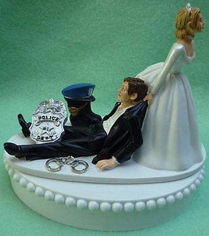 Police officer wedding cake topper policeman bride dragging groom humorous badge handcuffs boots hat funny reception gift Fun Wedding Things