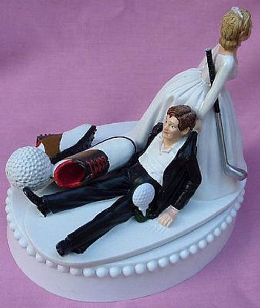 Wedding cake topper golf golfing golfer themed groom shoes ball club bride dragging funny FunWeddingThings.com humorous groom's cake top