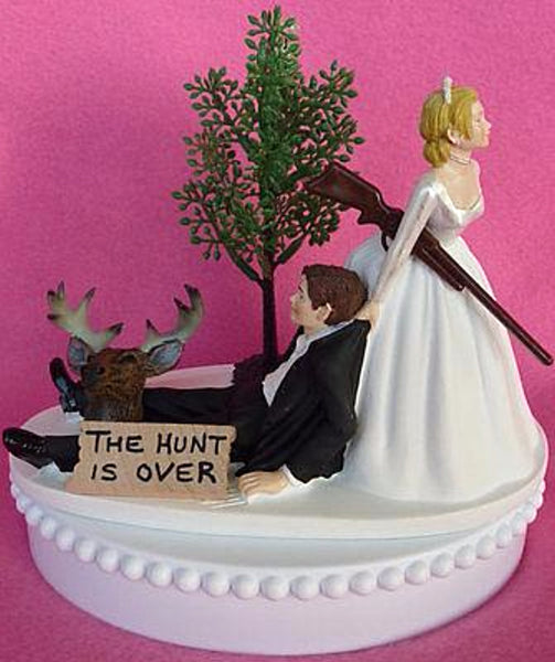 Wedding Cake Topper - The Hunt is Over Themed Deer Hunting Rifle Humorous