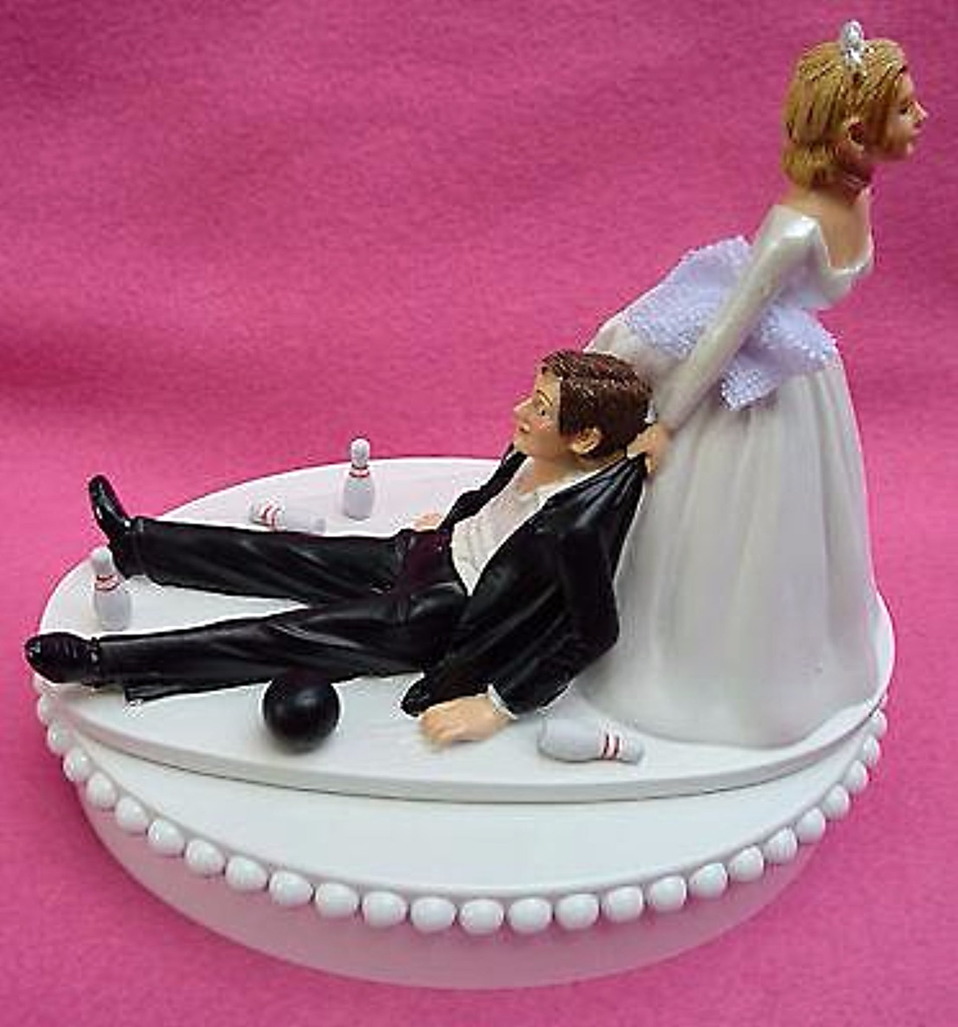 Bowling wedding cake topper FunWeddingThings.com bowler ball pins towel sports fans fun hobby bride dragging groom funny humorous reception gift