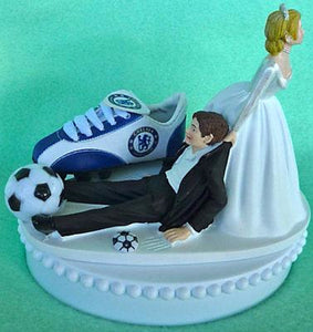 Chelsea soccer wedding cake topper Futbol F.C. Club bride drags groom humorous funny sports fans Fun Wedding Things reception gift idea